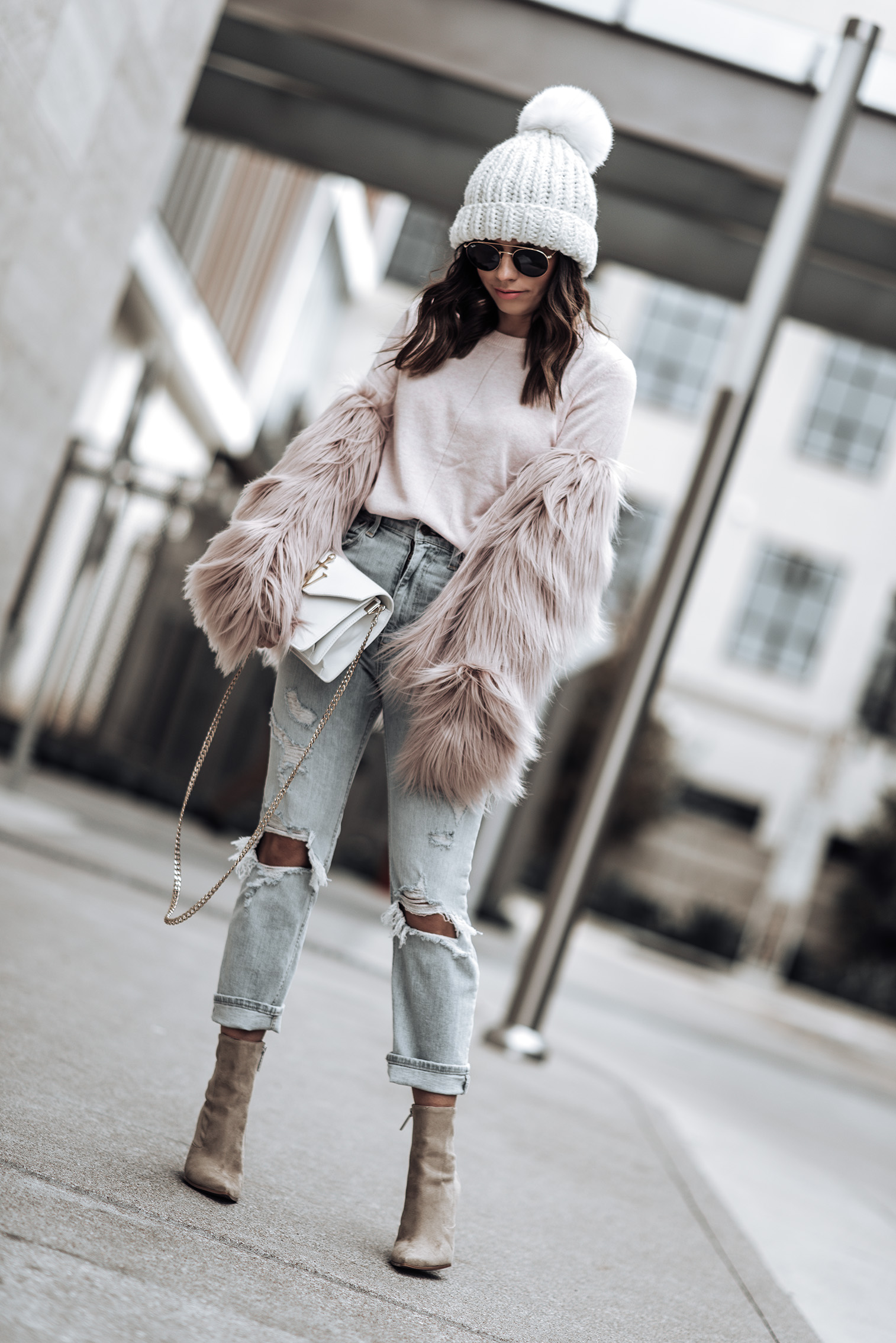 monochrome style | High Rise Ankle Strait Jeans | Italian Super Soft Classic Crew Sweater by Banana Republic {C/O} | Kendall + Kylie Fallyn Bootie | Unreal Fur Dream Jacket | J.W. Anderson Logo Bag| Sunglasses
