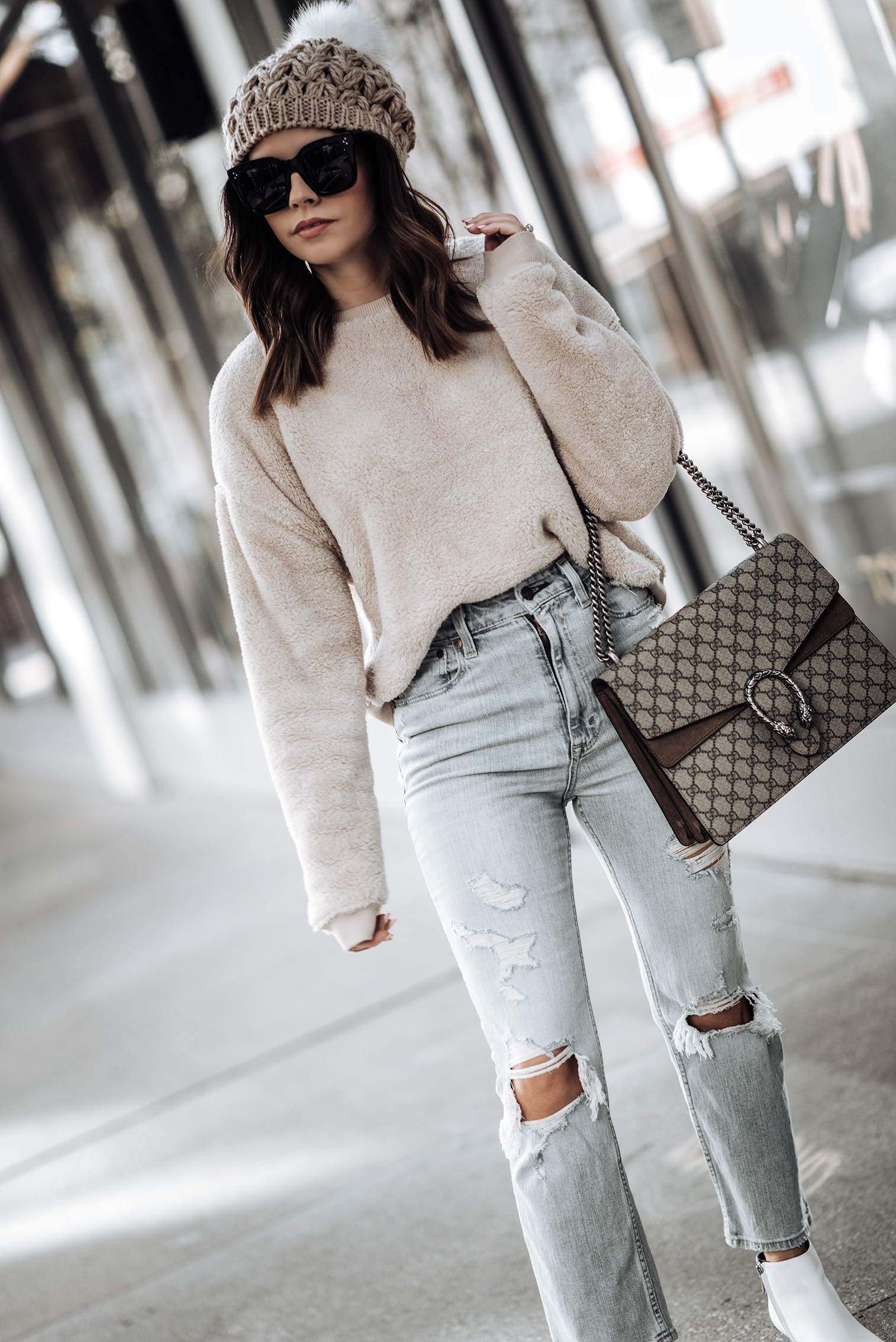 Fuzzy crewneck Sweatshirt | High Rise Ankle Strait Jeans | Kinzey Ankle Boots | Beanie (similar) | Large Gucci Dionysus Bag | Celine Glasses | #falloutfits #beanieoutfits #guccibagoutfits #casualoutfitideas Cozy outfits