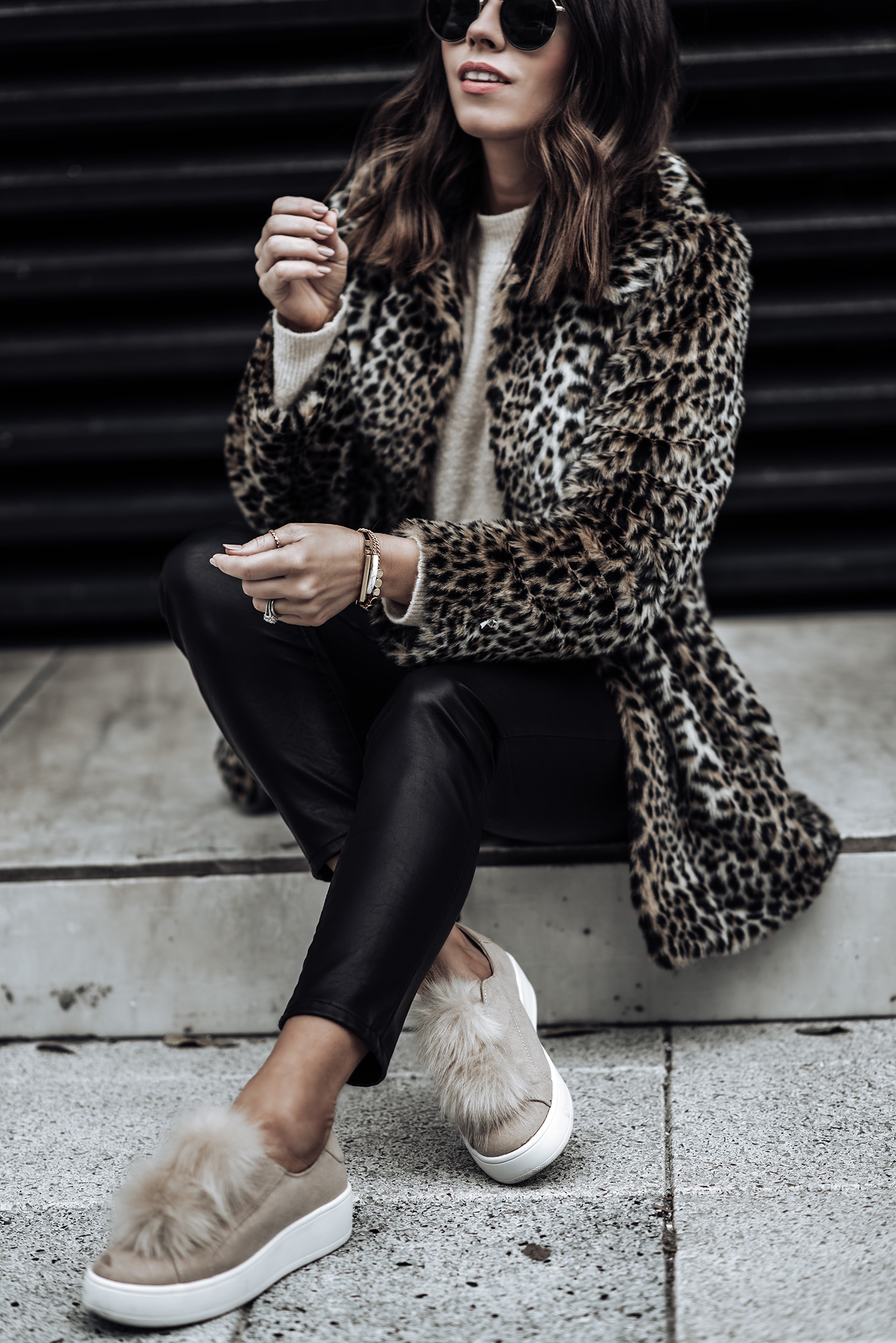 Fluffy Yarn Sweater | Leopard print Coat | Pom pom sneakers | Sunglasses |Tiffany Jais fashion and lifestyle blogger of Flaunt and Center | Houston fashion blogger | Leopard coat trend | Streetstyle blog
