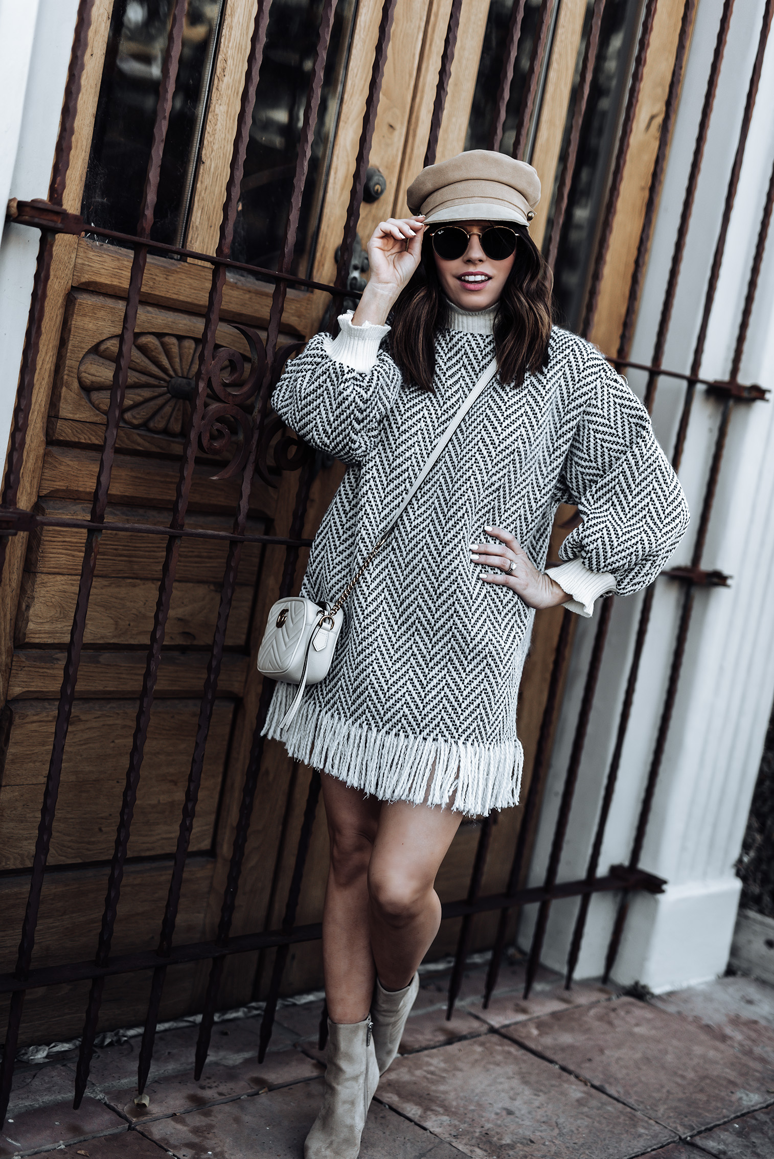Ciara Zig Zag dress {C/O} Storets | Nude Ankle Boots (similar style here) | Lack of Color Lola Cap in Natural | Gucci Marmont bag in white | Ray-Ban Sunglasses | #streetstyle #sweaterdress #ankleboots #guccimarmont #lackofcolor