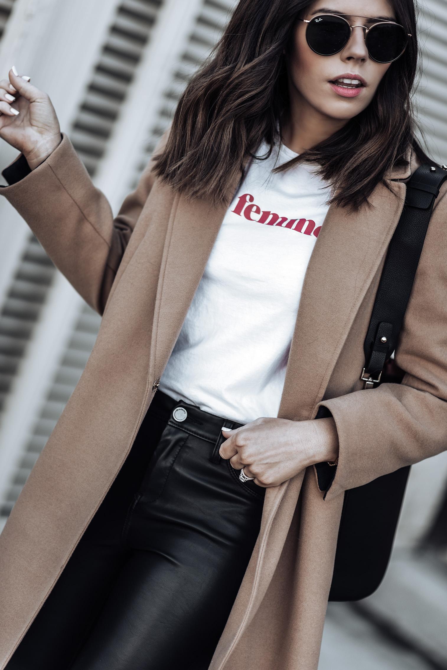 Camel coat via Topshop (similar here) | {C/O}Greats Sneakers (similar) | The principle mid rise vegan leather pant via Shopbop | Sezane La Femme Tee | Topshop bucket bag (similar)