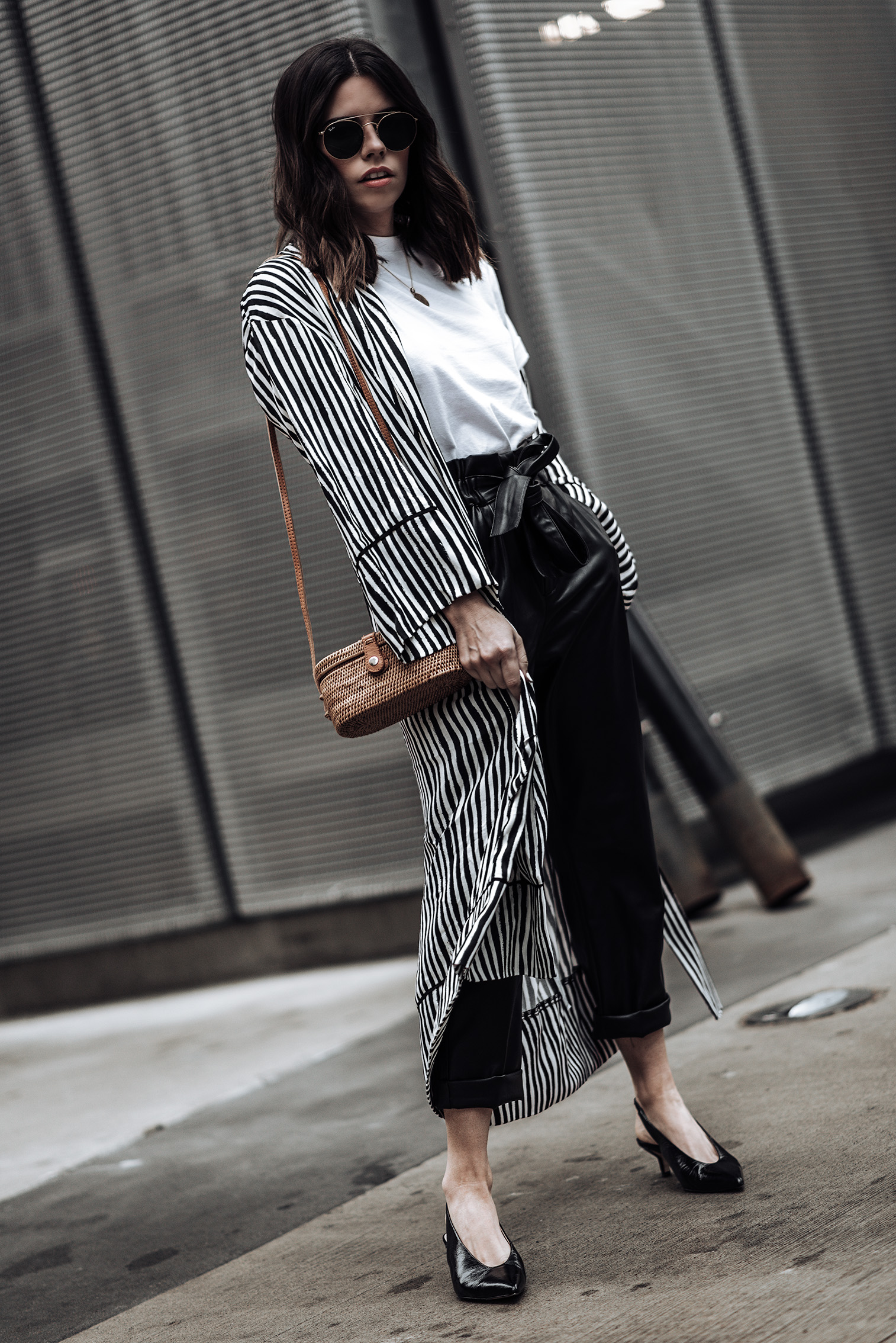 Leather tie waist pants (From Mango, identical here) | Stripe Kimono (Zara, similar here) | Slingback heels in black | Camilia Crossbody Box Bag | Mini Marie Pendant | Hanes X Karla tee (runs large, size down)