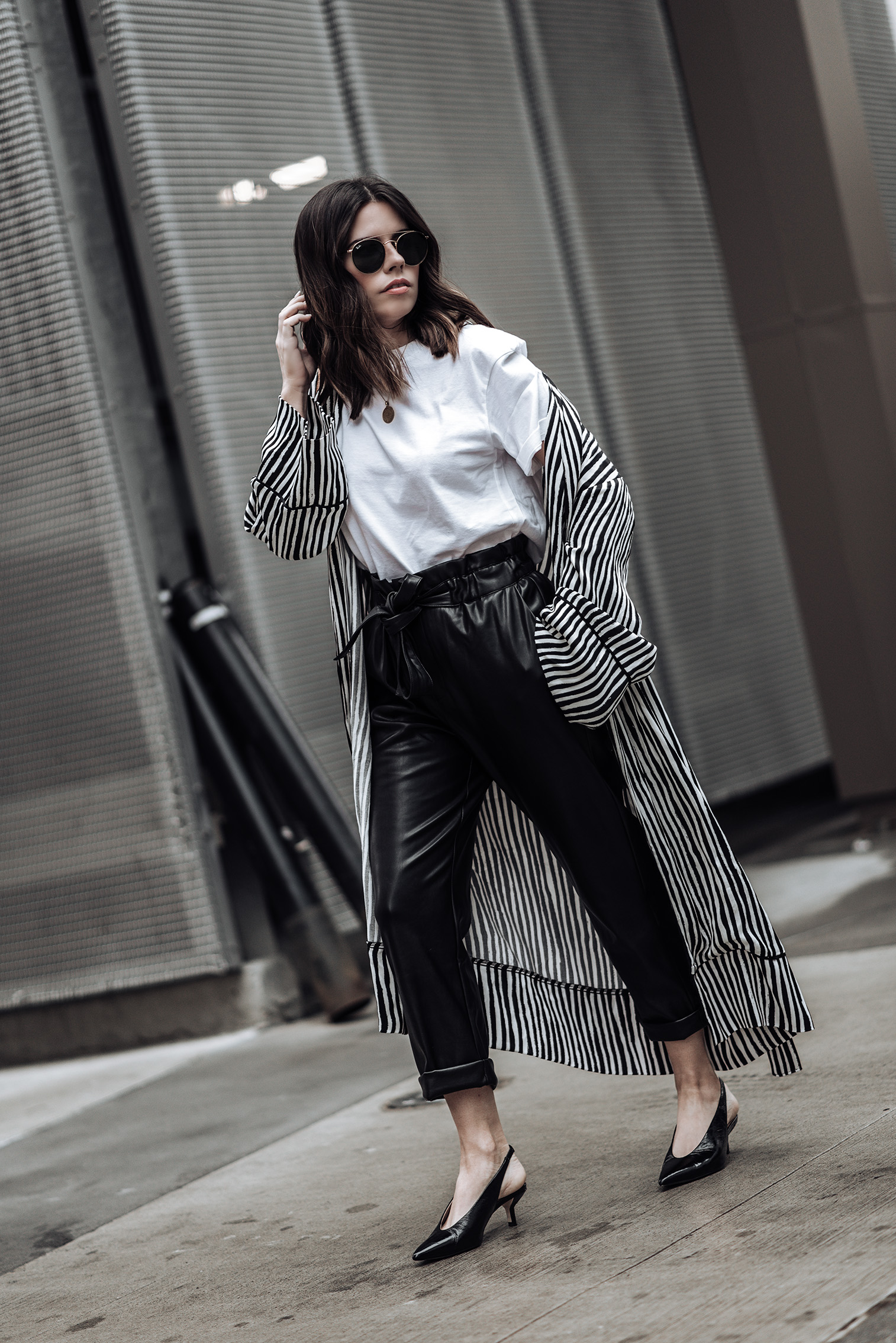 Leather tie waist pants (From Mango, identical here) | Stripe Kimono (Zara, similar here) | Slingback heels in black | Camilia Crossbody Box Bag | Mini Marie Pendant | Hanes X Karla tee (runs large, size down) #streetstyle #striped