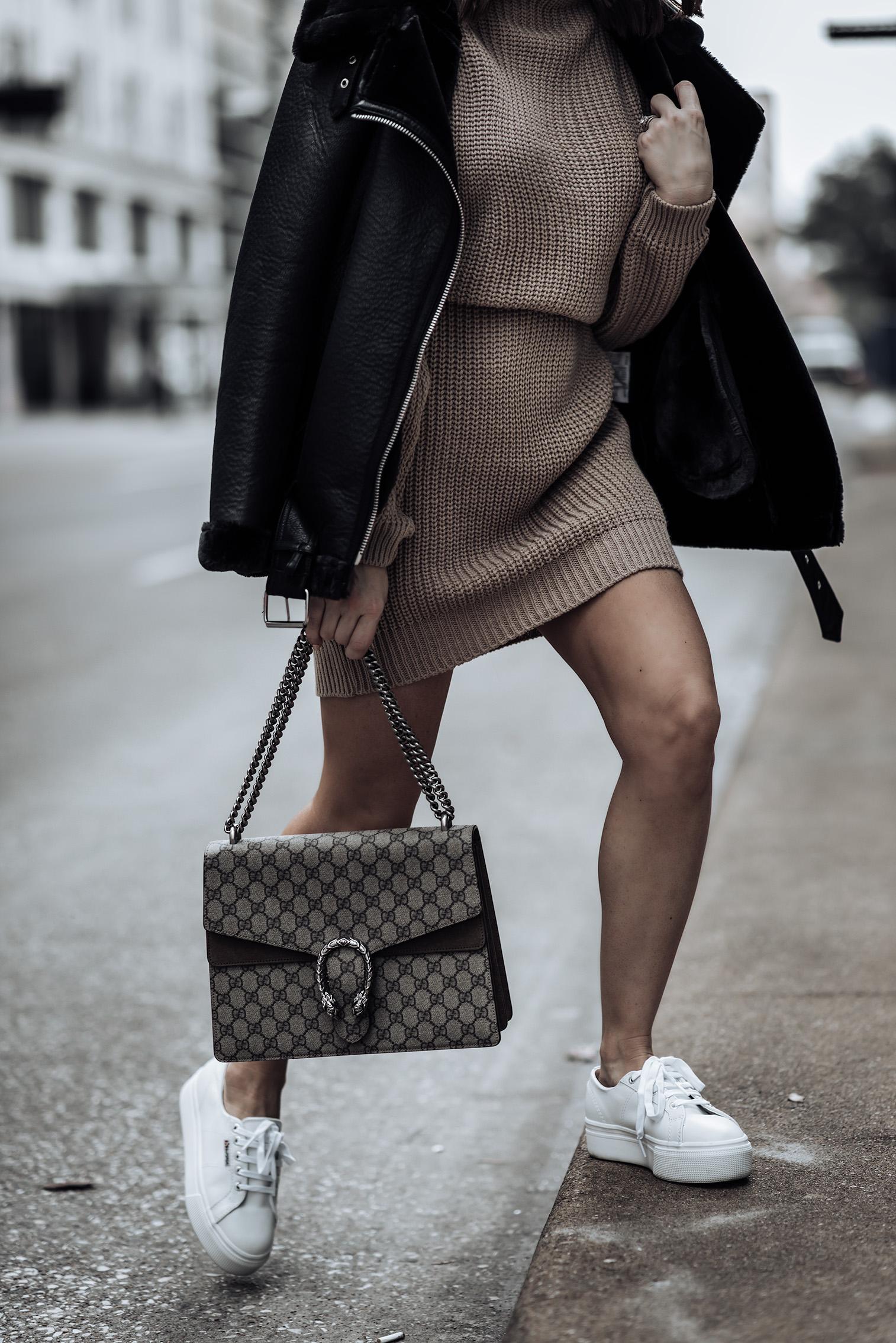 Transitioning into spring |Iffy Stone Oversized Cable Knit Sweater Dress | 2790 Platform Sneakers | Dionysus GG Bag | Oversized Biker Jacket | #sweaterdresss #liketkit #rewardstyle #streetstyle2018