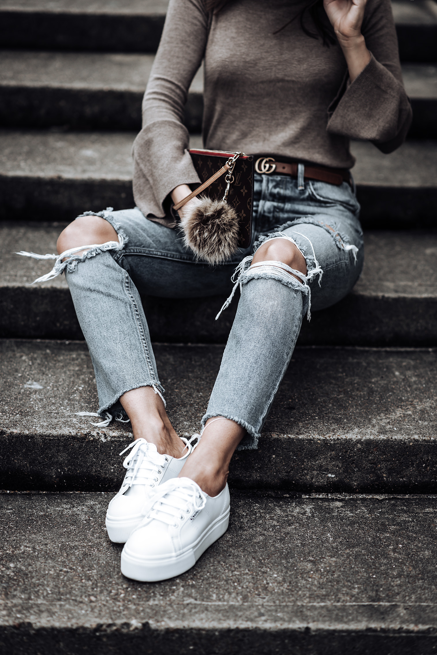 Trend report - The accessories edition | Trumpet Sleeve Sweater | Fiddler Cap | Karolina GRLFRND Denim | Brown Gucci Belt | Supergra Platform Sneakers | #streetstyle #guccibelt #Grlfrnddenim #platformsneakers #revolve #casualfashion #outfitideas #liketkit