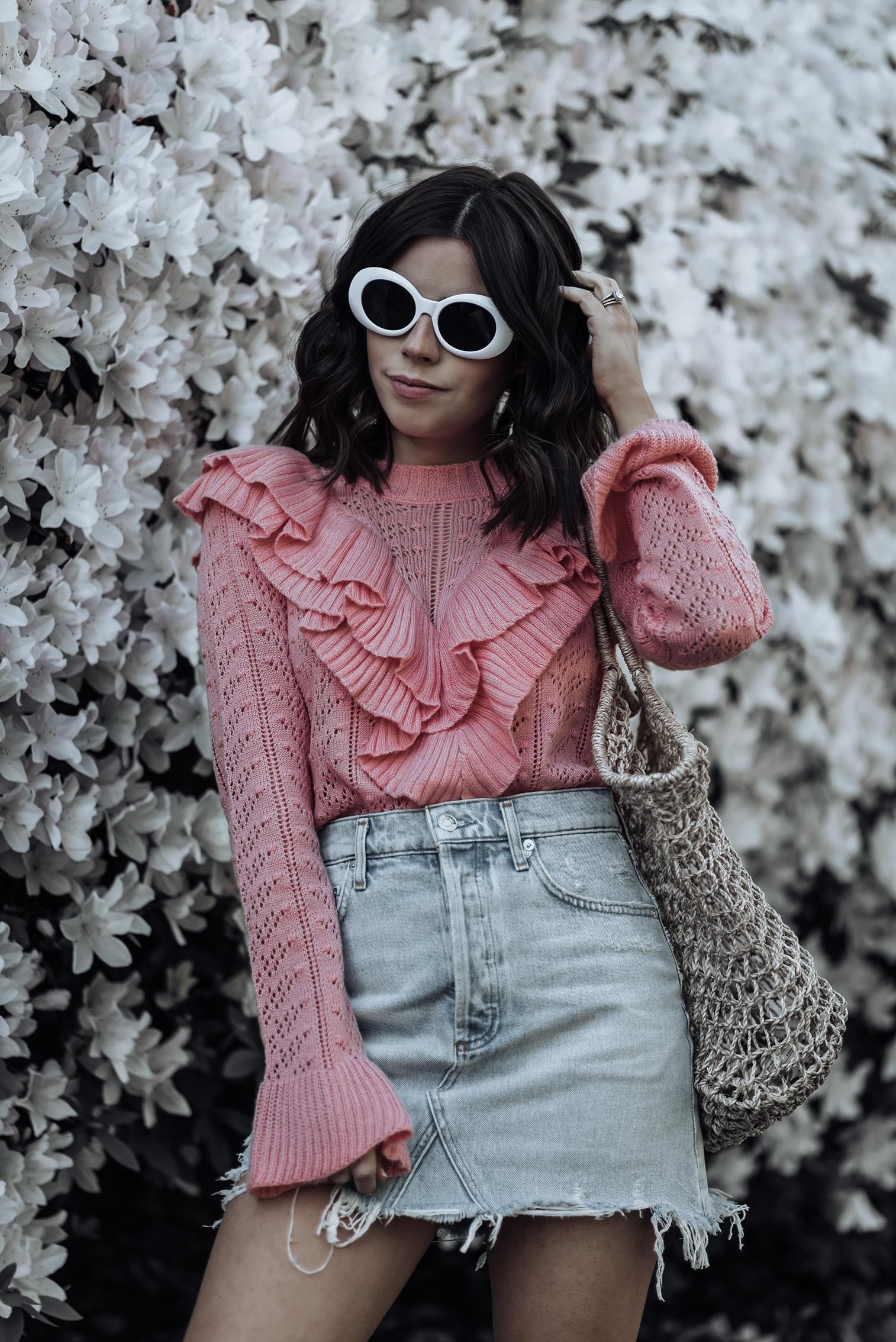 Manny Tularosa Sweater | Agolde High Waisted Skirt | Marina Basket Tote | {C/O}White Oval Shaped Sunnies | Superga Platform Sneakers | #streetstyle #denimskirtoutfits #Tularosa #platformsneakers #liketkit