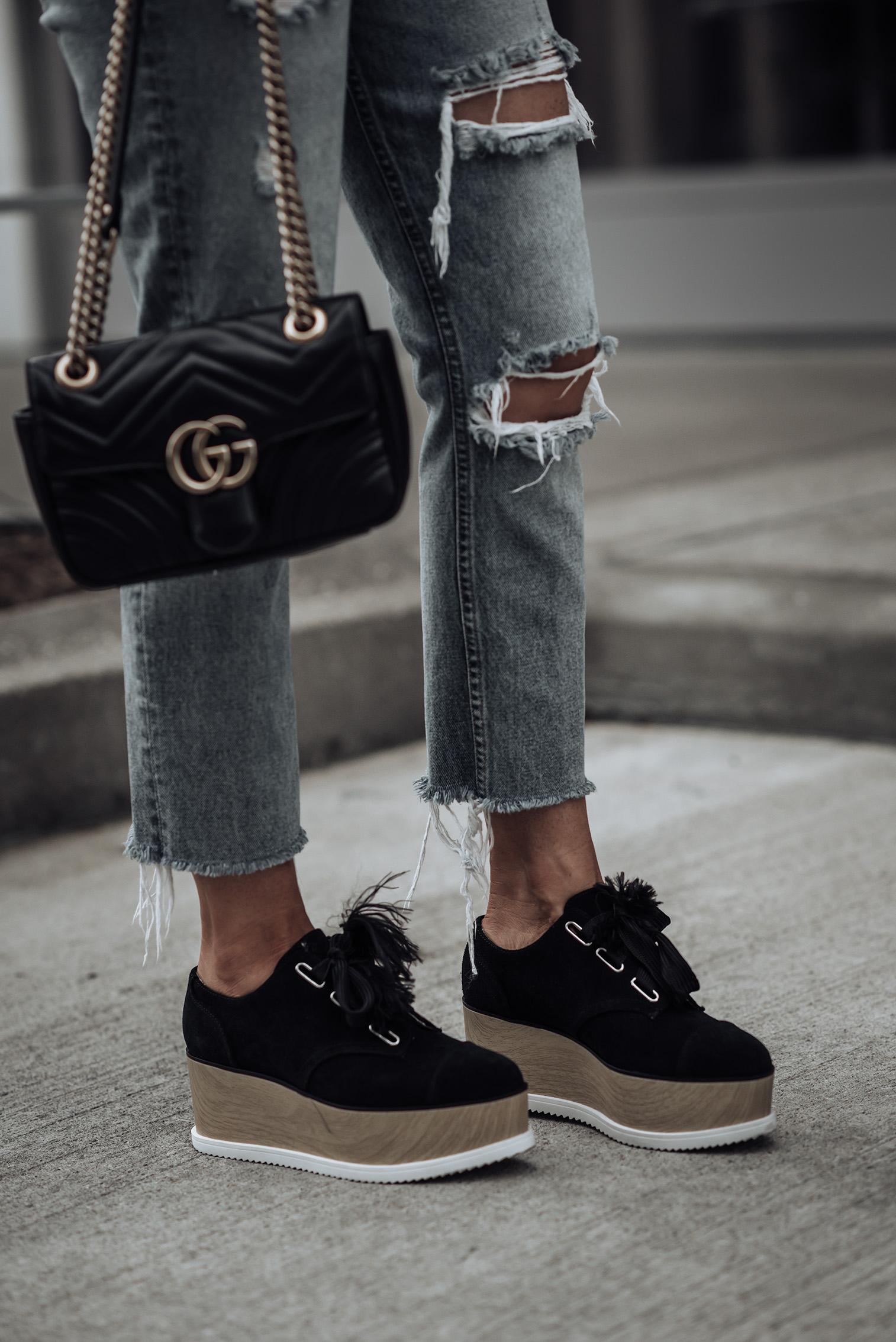 Leopard Beret | ASOS Corset Top | Suede Platform Shoes | Ripped Denim | #platformshoes #gucci #liketkit #streetstyle