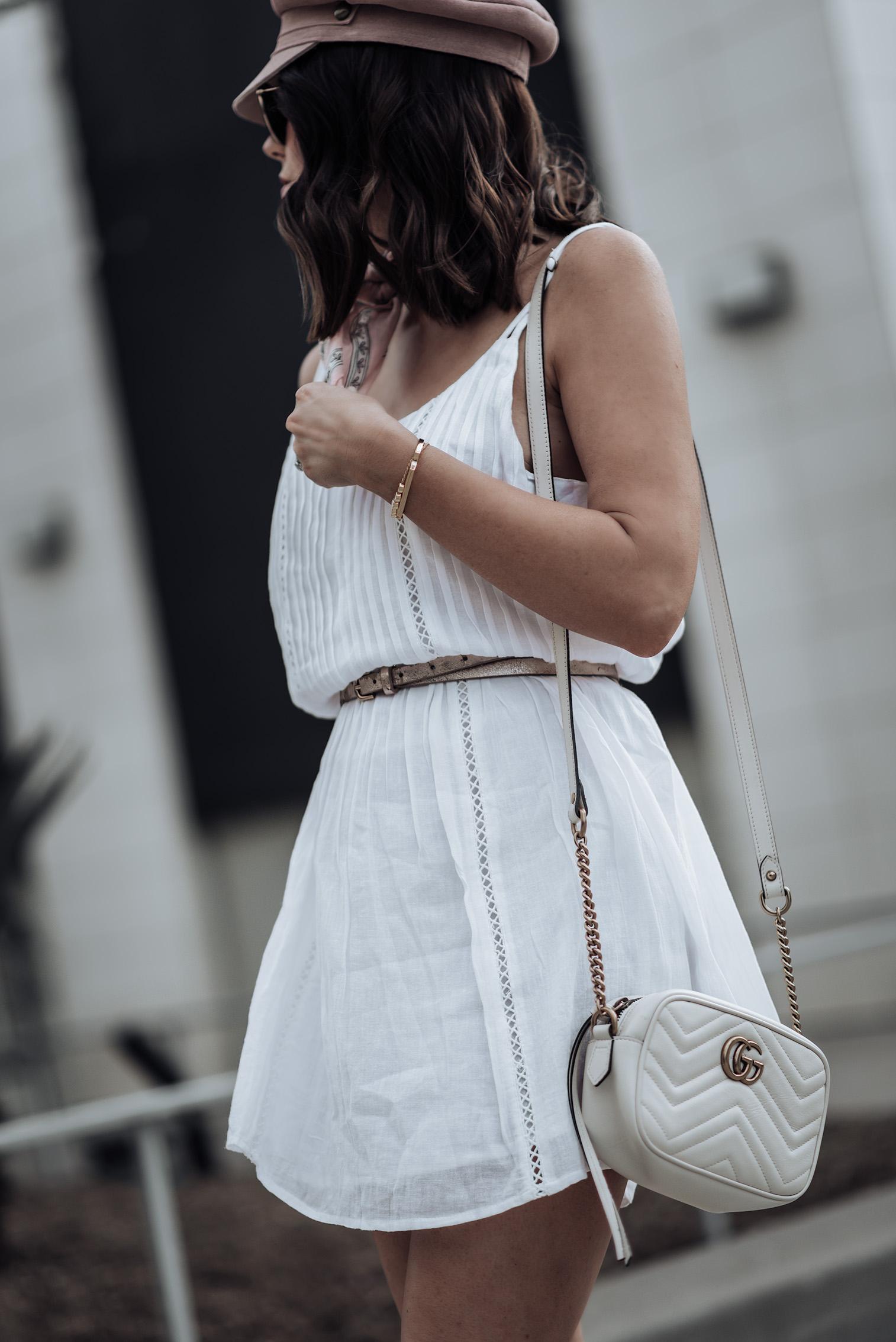 Little white dress | Pink Lola Cap(obsessed) | White Mini Summer Dress | Superga Platforms | Necktie (similar) | Gucci Bag #streetstyle #littlewhitedress #lackofcolor #gucci #liketkit