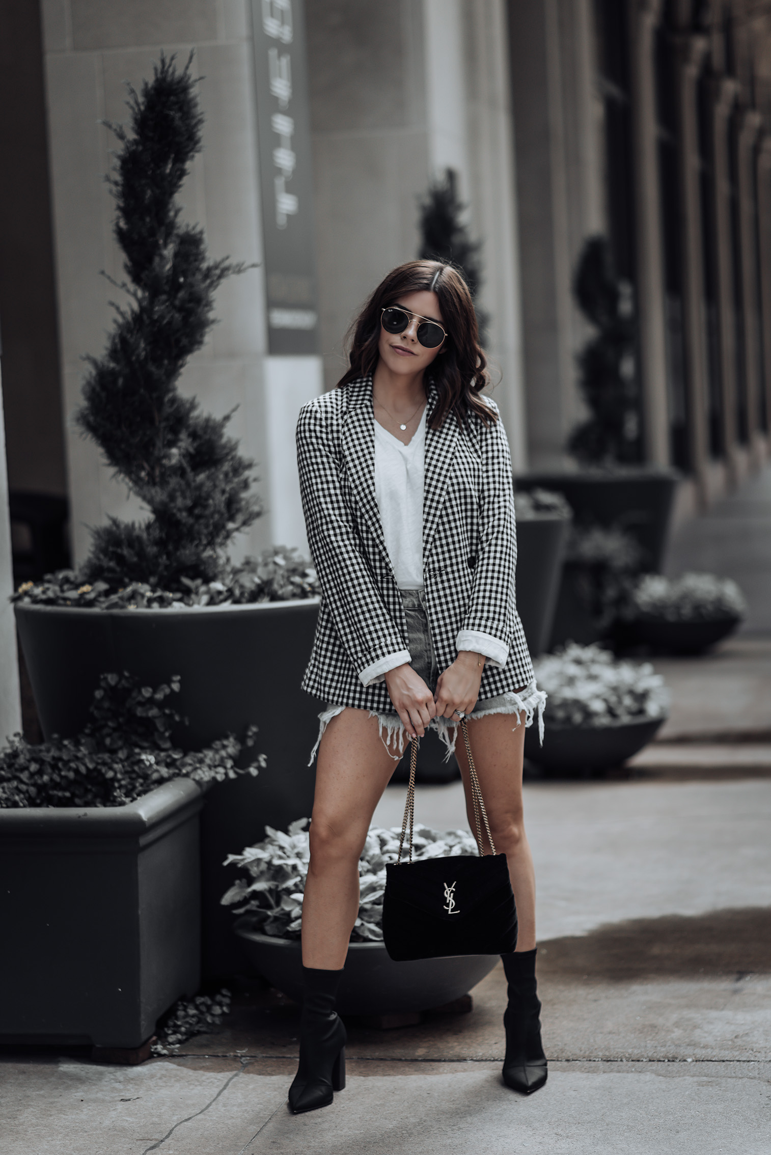 Gingham Blazer (similar) | Agolde Parker Vintage Cut Off Denim Shorts | Steve Madden Lombard Booties | Saint Laurent Monogram Velvet Bag #liketkit #gingham #ootd #streetstyle #denimcutoffs