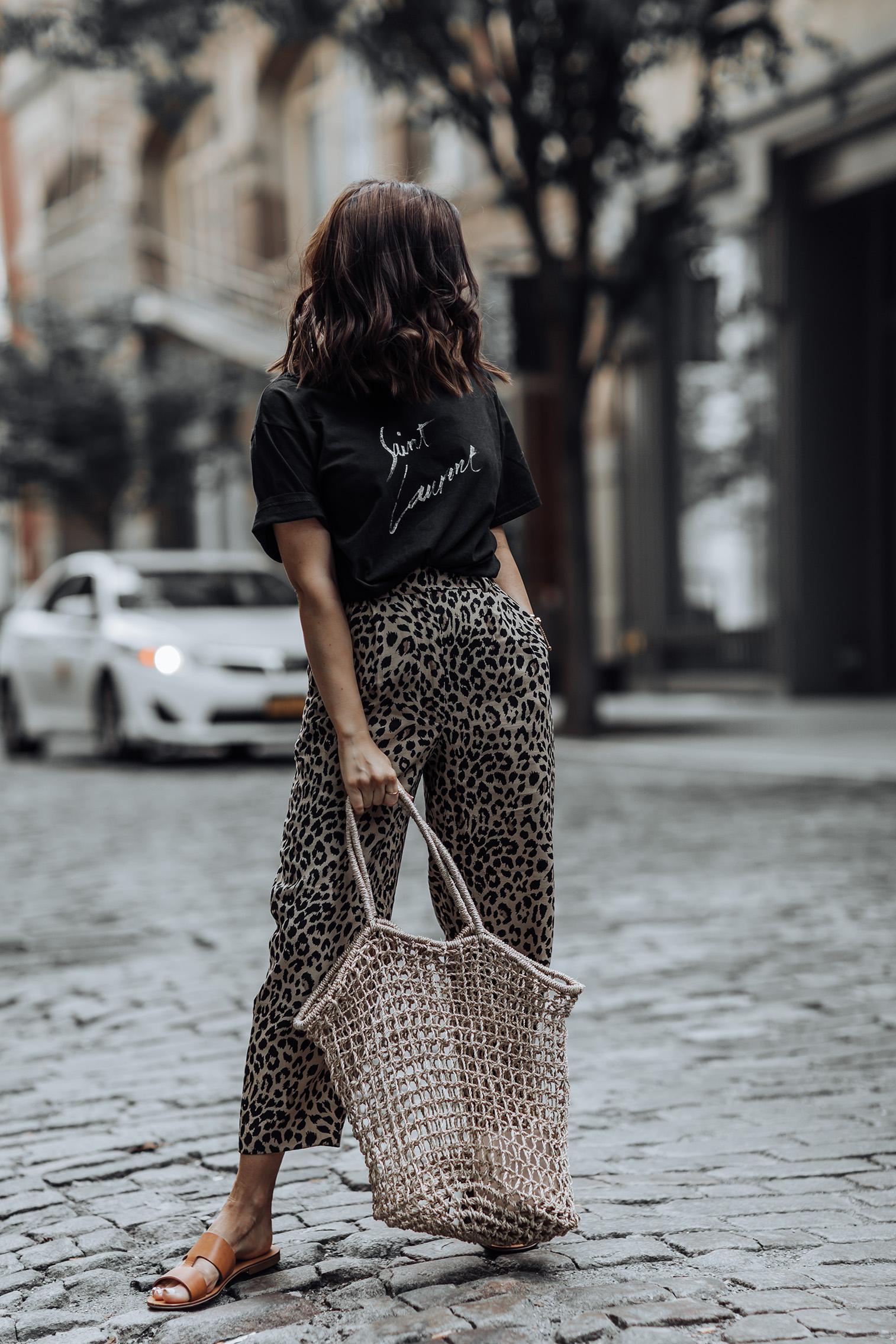 Leopard obsessed | Saint Laurent Tee | Leopard pants | Everlane Brown Slides (similar) | Basket Tote |
