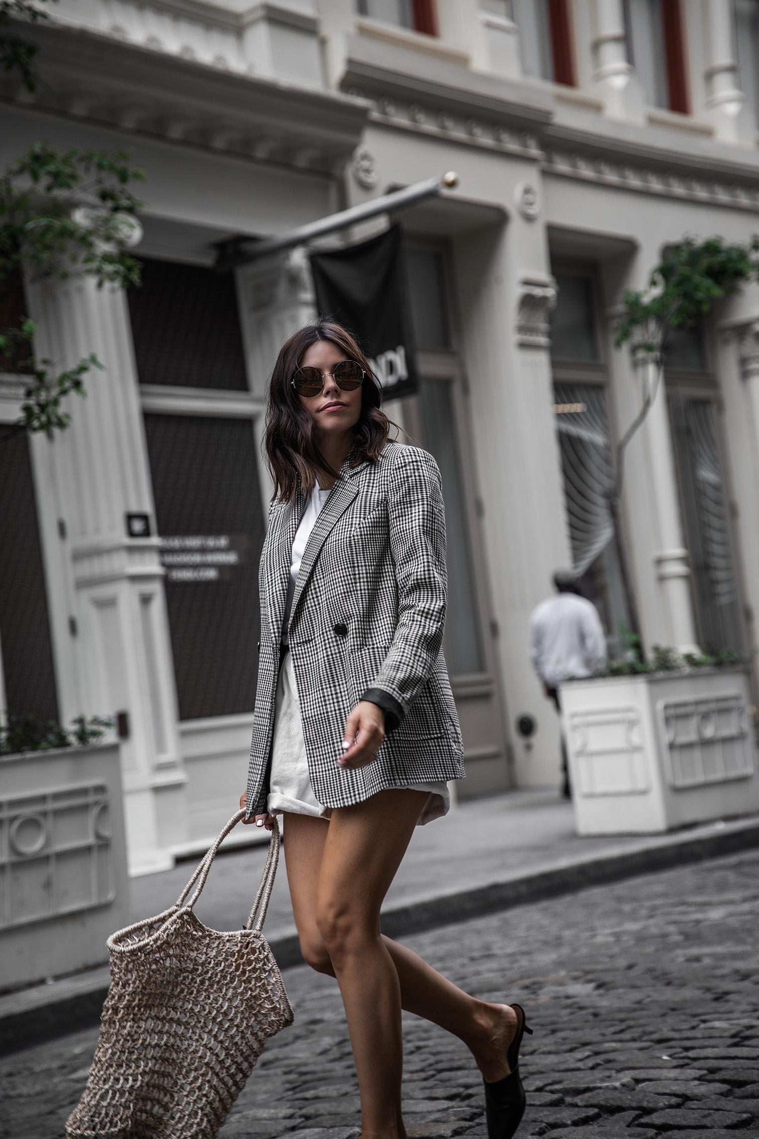 Paper Bag Shorts Trend | Plaid Blazer| White Paper Bag Denim Shorts |Mule Slide (similar) | Knit Bag (similar)