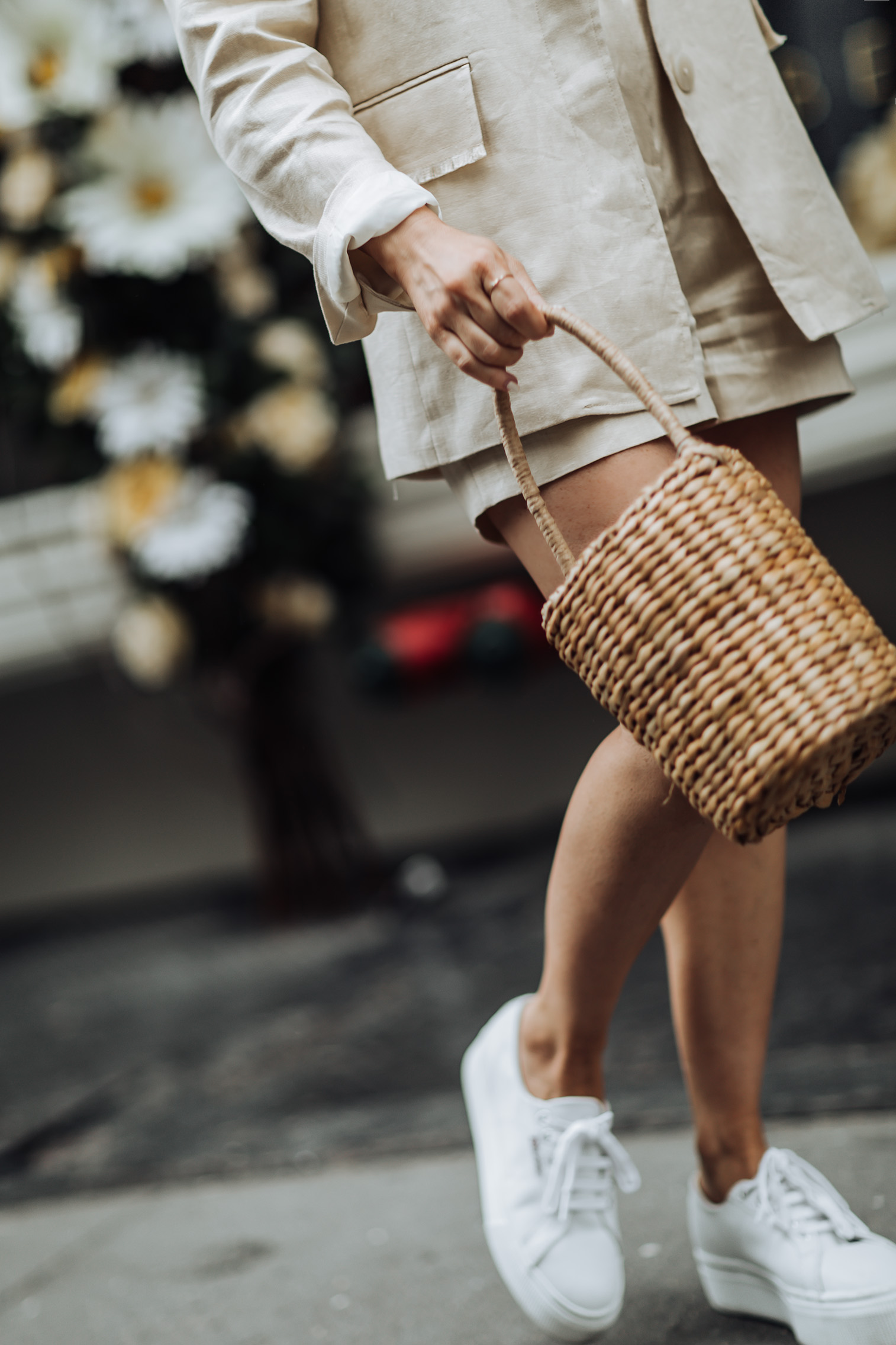 Two piece sets | Structured Linen Blazer | Linen High Waisted Shorts | Superga Sneakers | Basket Straw Bag | #liketkit #streetstyle