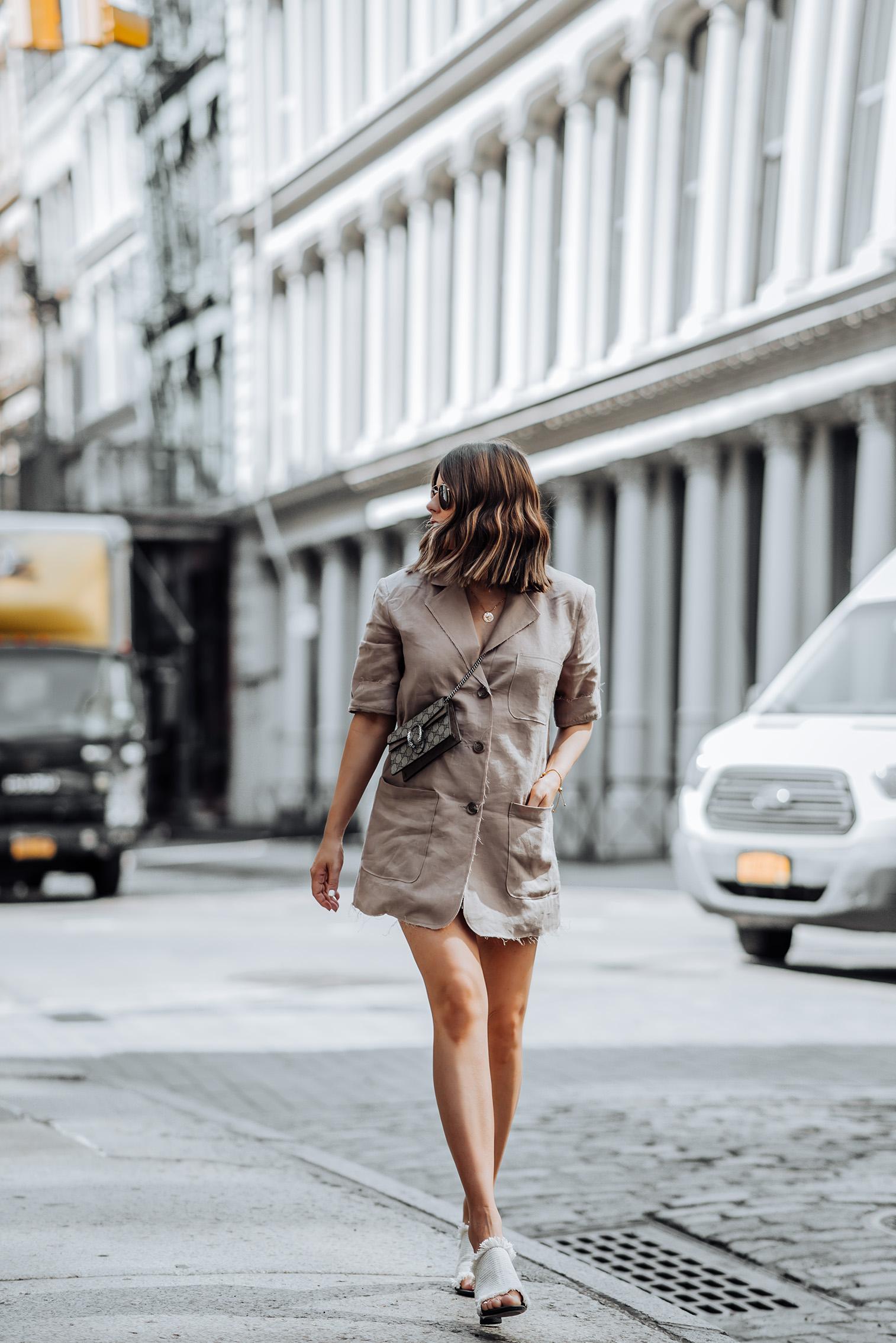 Oversized Blazer via Storets | Heels (obsessed! Runs TTS) | Gucci mini bag| #liketkit #rewardstyle #ootd #oversizedblazer #blazeroutfits #NYCblog #guccidionysus #storets #streetstyle