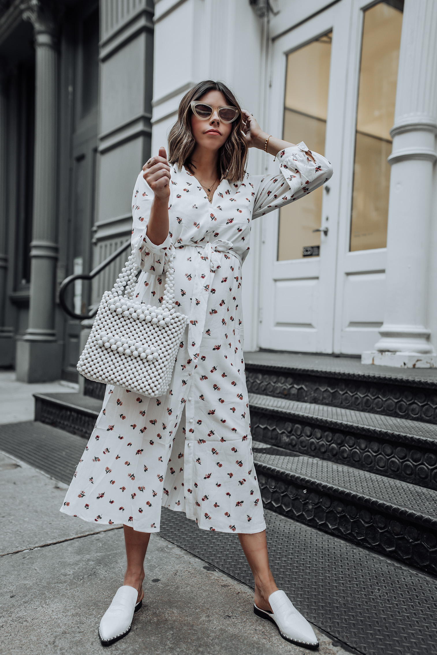All white | Midi Wrap Dress | Sigerson Morrison Elana Point Slides | Beaded Bag |