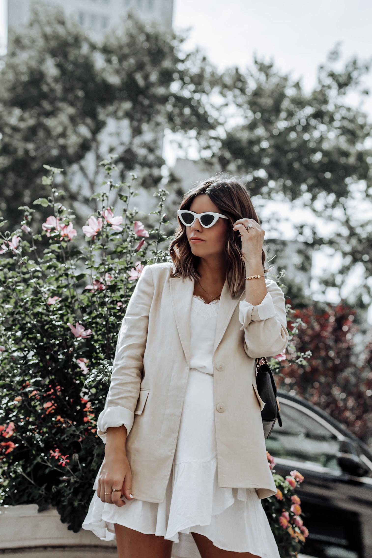 Muted Yellow Blazer | Ruffle Mini Skirt | Lolita White Sunglasses | Gucci Marmont Bag | Steve Madden Agent Slingbacks #liketkit #reffleskirt #streetstyle #nycblogger