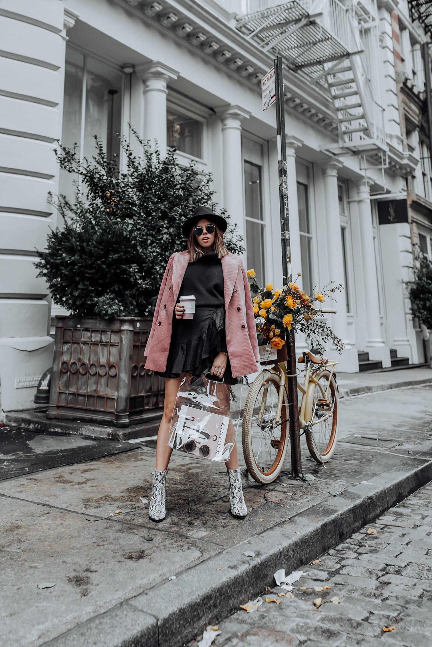 Corduroy Blazer via Mango | Ruffle Wrap Skirt | Tony Bianco Brazen Bootie | #Streetstyle #pinkblazer