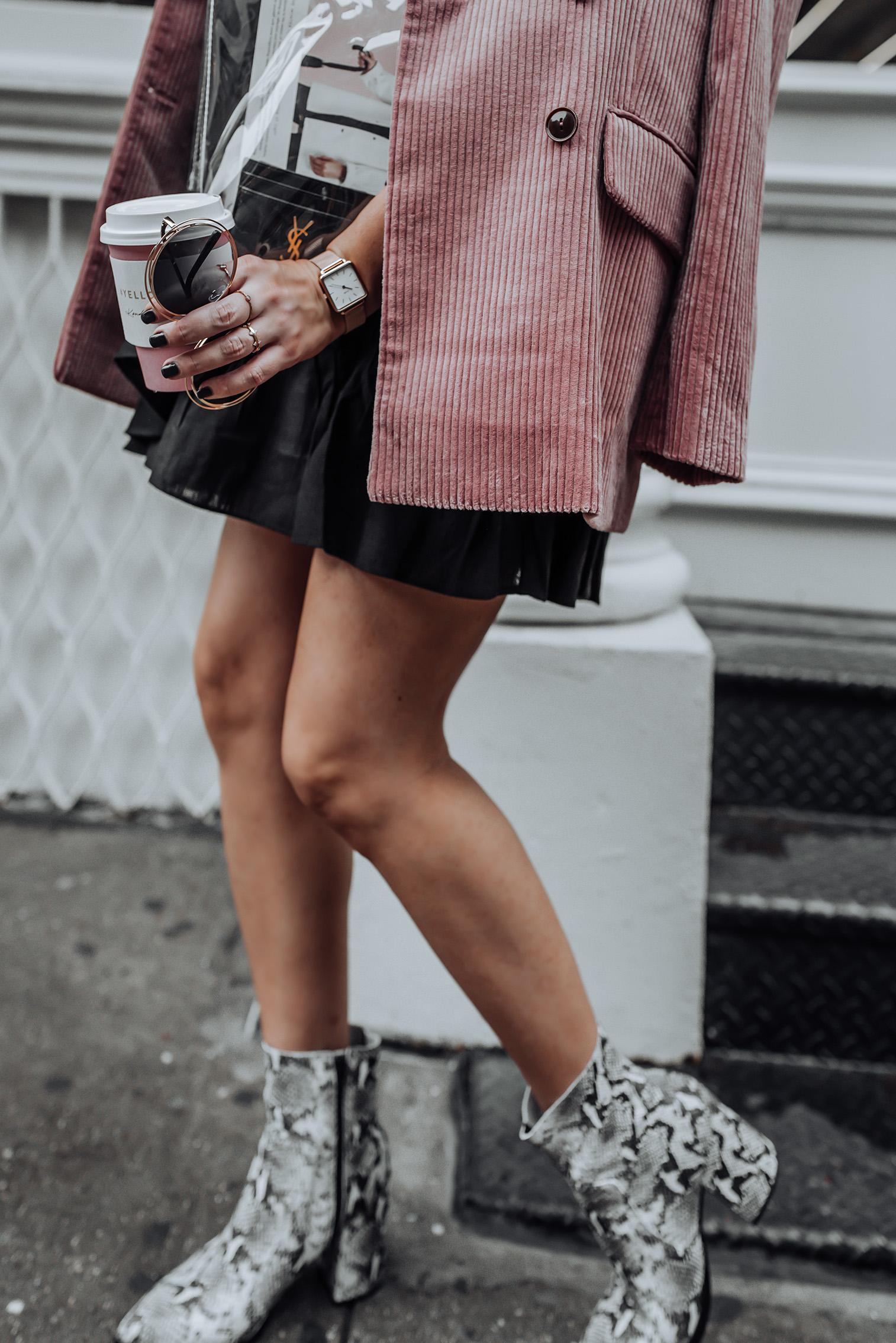 Corduroy Blazer via Mango | Ruffle Wrap Skirt | Tony Bianco Brazen Bootie |