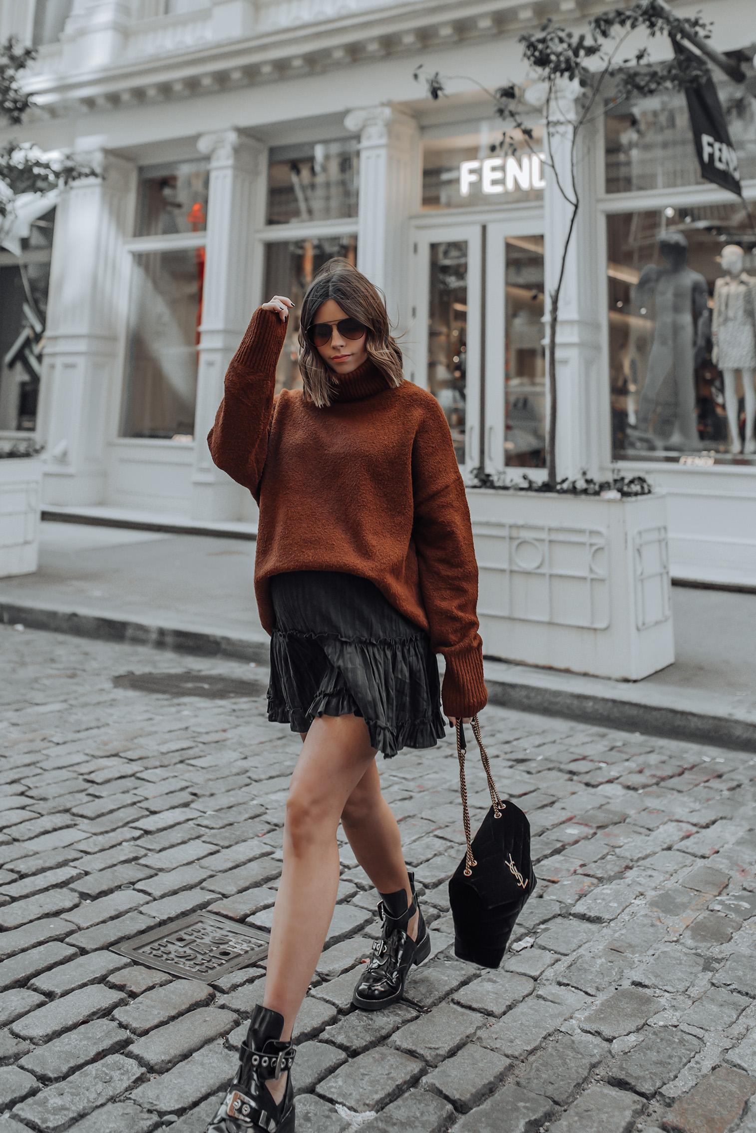 Oversized Sweater | Black Mini Skirt | YSL LouLou in Velvet | #streetstyle #ysl #nycblog #sohonyc #liketkit