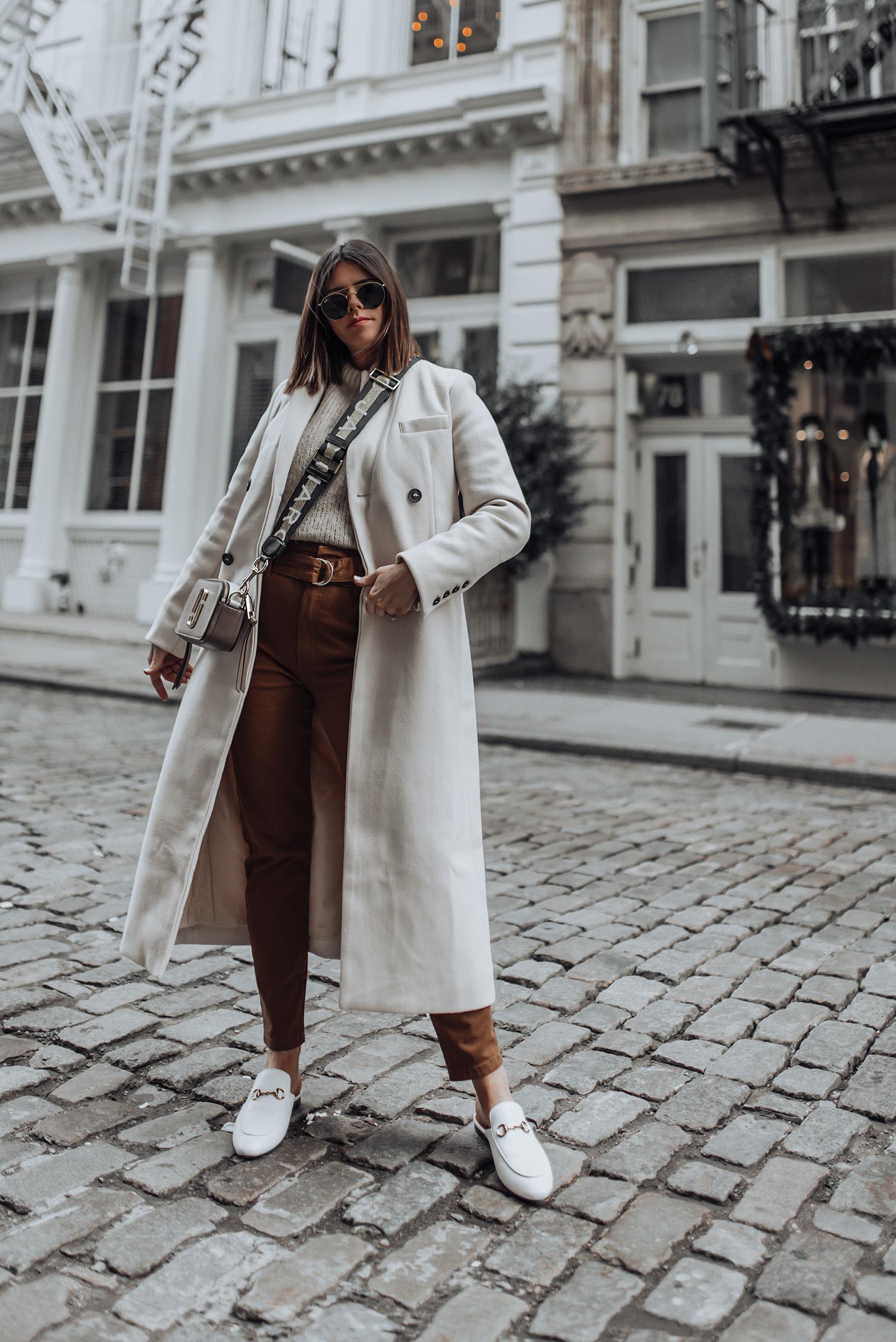 Pants (Berska, similar here and also love thispair) | Marc Jacobs Snapshot Camera Bag | Wool Coat (similar here) | Sweater| #streetstyle #marcjacobs #ootd