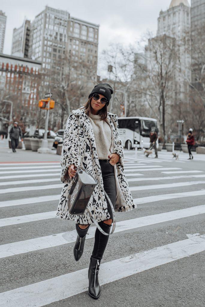 Snow Leopard Faux Fur Coat | Skinny Jeans | Bag (similar) | Sweater |Boots via ASOS