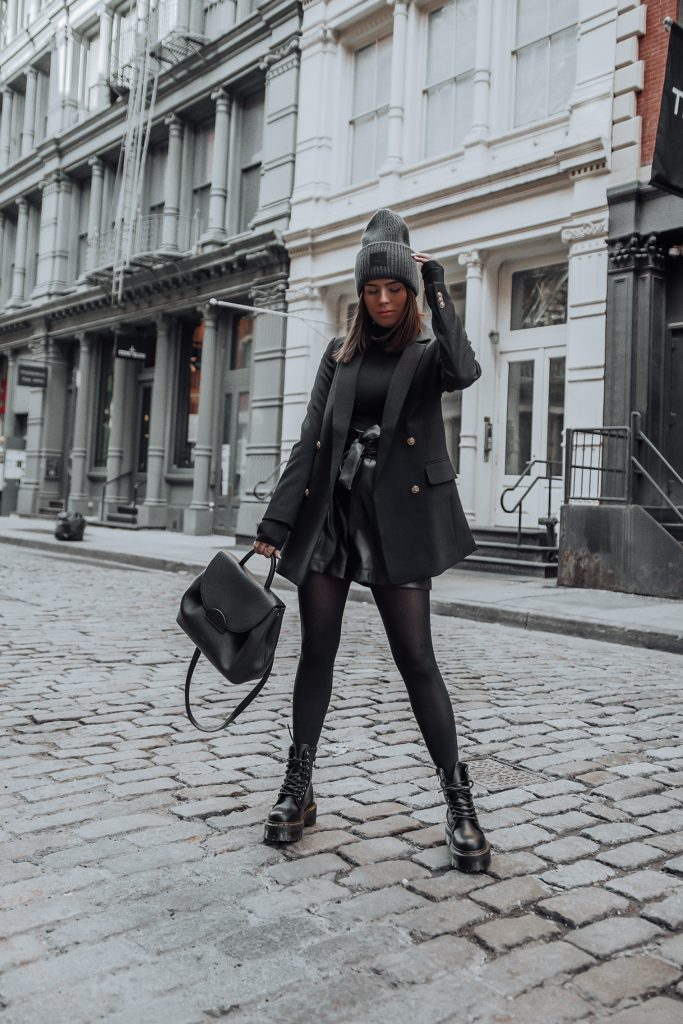 Blazer |Faux Leather Shorts (similar) |Acne Studios Beanie | Dr. Martens Jadon 8-eye Boots   Happy Tuesday babes! I wore this look last week on probably one of the coldest days we've had in NYC this year! So not very wise and yes I was freezing! But you know what they say, beauty is pain, haha!