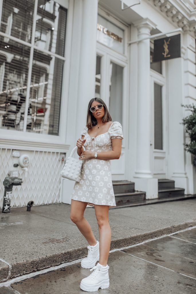 Floral Mini Dress | Platform Sneakers via Nasty Gal (similar here) | Beaded Handbag (similar) | Sunglasses gifted by Sunday Somewhere (similar) |  I'll definitely be packing this little neutral floral dress for the beach! I feel like a floral print mini dress is such a summer staple and this one was such a steal for under $50! Alex even mentioned how much he loved this dress and he never really comments on my fashion, haha!