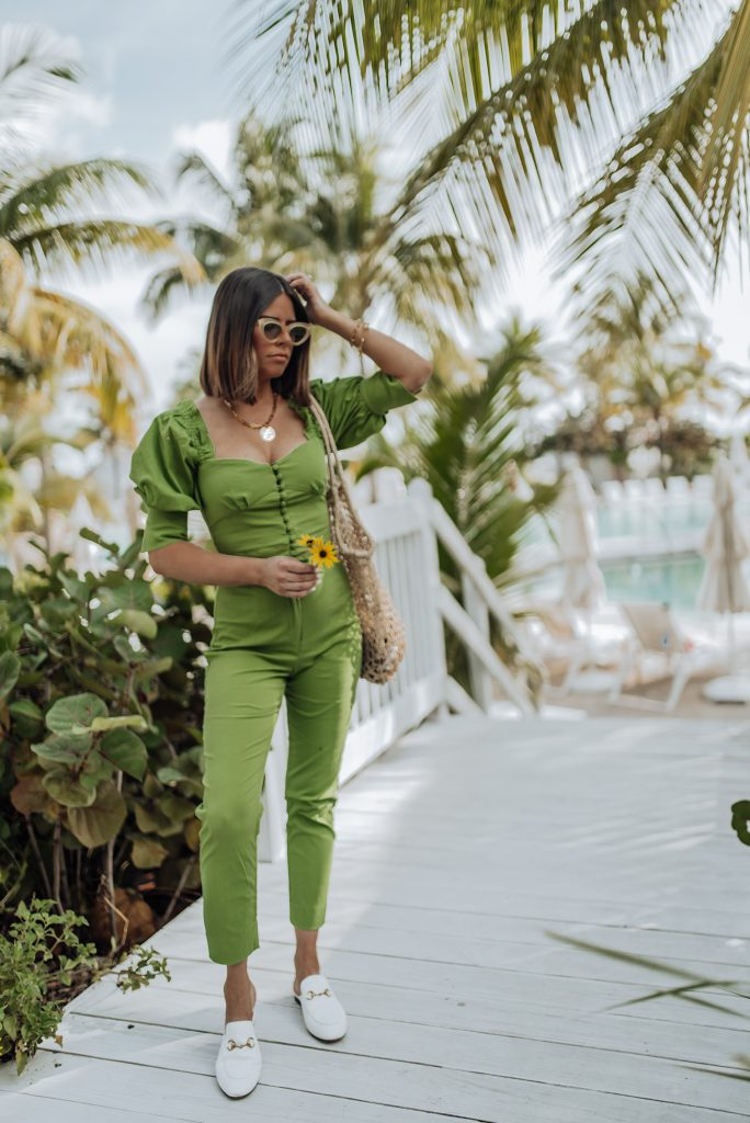 Top | Pants | Hat | Necklace (similar) | Gucci shoes | Sunglasses Can you guys believe I'm actually loving a bit of color right now! Stepping out on neutrals with this two piece set from Revolve and I'm obsessed! I wore this look while on vacation last week in the Bahamas and it's seriously so so flattering! The color is just so bright and tropical and blended right in with the palms! It was seriously screaming to come on vacation with me! Haha!