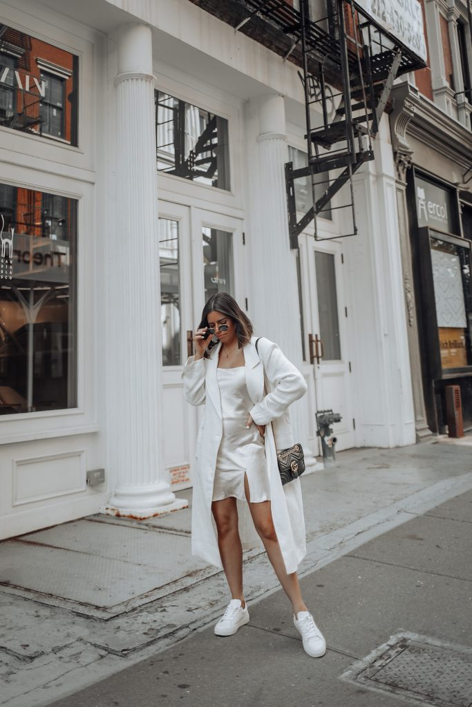 Linen Trench Coat | Satin Slip Dress (similar) | Gucci Bag You guys know how much I love a good slip dress, even despite Alex thinking they look like pj's! Haha! So maybe not a look your dude will dig but guys know nothing so there's that. JK!