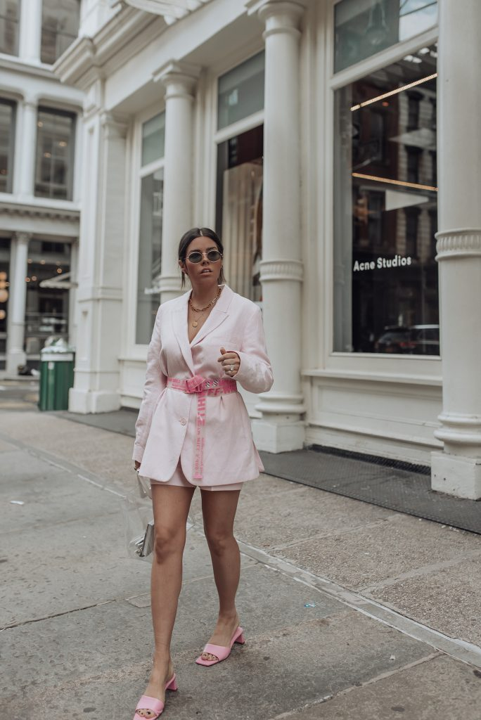 Blazer   Off White Pink Belt   Clear Bag   Pink Heels (Zara)   Pink Shorts Happy Friday babes! Originally I planned this look for NYFW but my belt was very hard to acquire and took me a little longer to get unfortunately. Better late than never because I feel like this is one of my favorite looks ever! Also I feel like a matching pink suit set is a must in every girls closet because it's such a fun look. Also you can easily style down with sneakers for an off duty, cool girl vibe. Monochrome pInk