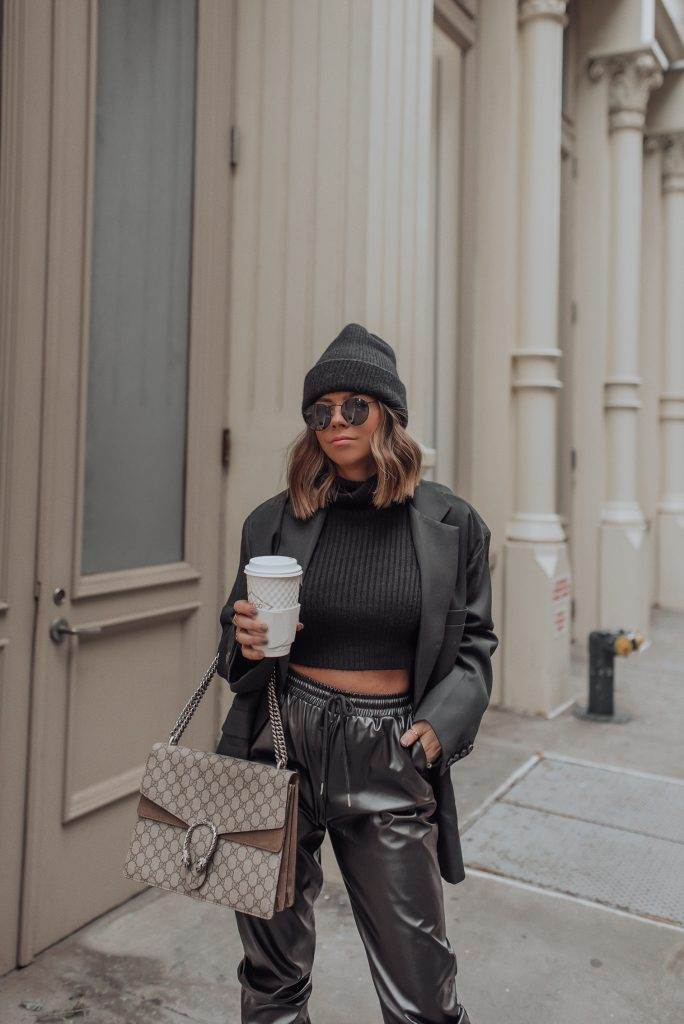 Pants | Crop Top | Blazer by The Frankie Shop (Similar) | Dionysus | Happy Thursday babes! Sharing an all black look today! Seriously so into these faux leather joggers at the moment. They are so fun and add an instant cool vibe to your look. Also I love how well they pair with blazers, it's such a chic combo you can wear day to night.