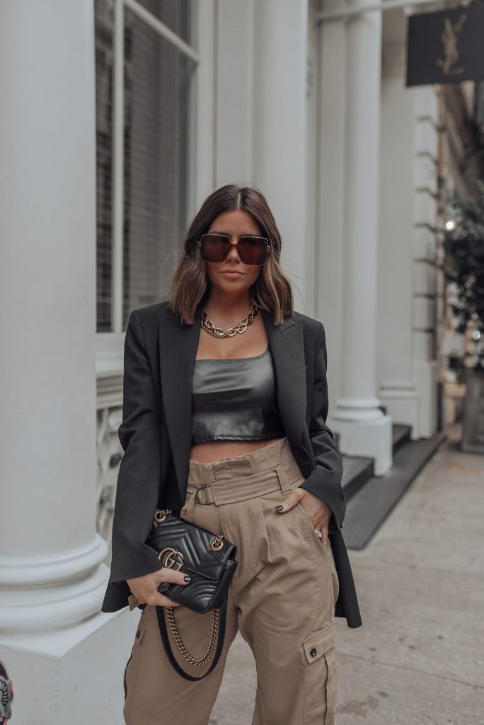 Pants (Zara)   Blazer (zara)   Faux Leather Crop Top   Gucci Bag NYFW 2020 has arrived! Getting so much inspiration this year and one of the trends I'm most into at the moment is combat boots! I seriously wear them all the time now! They don't hurt my feet and add an extra vibe to just about every look. Totally into comfort and edge, as always!